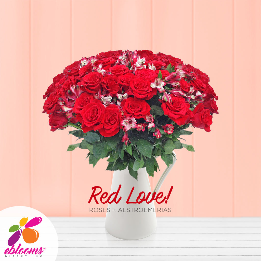 Red Alstroemeria & Rose Bouquet, Pack 8, 40 cm
