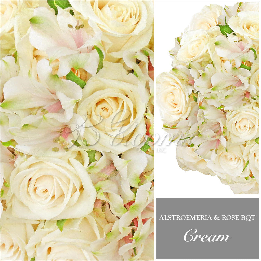 Cream Alstroemeria & Rose Bouquet, Pack 8, 40 cm