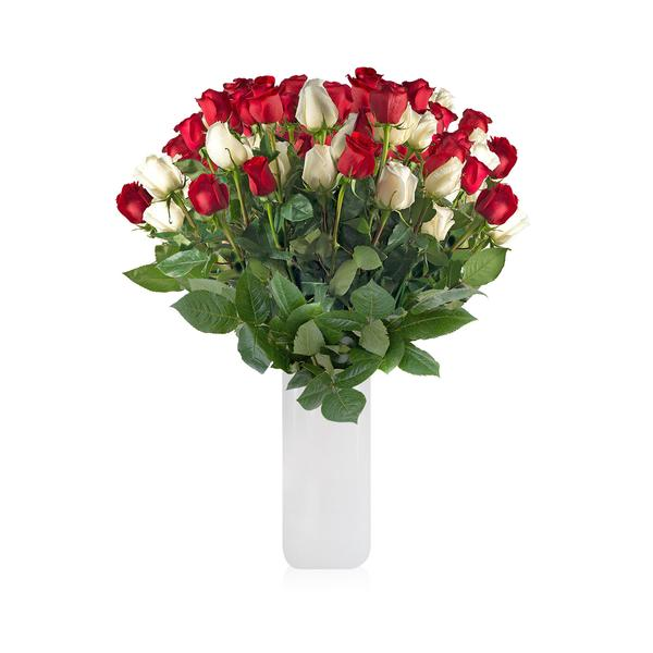 Classic Rose bouquet Red and White