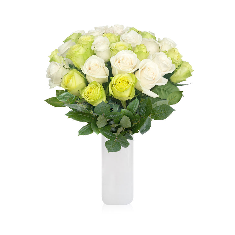 Classic Rose Bouquet White and Green