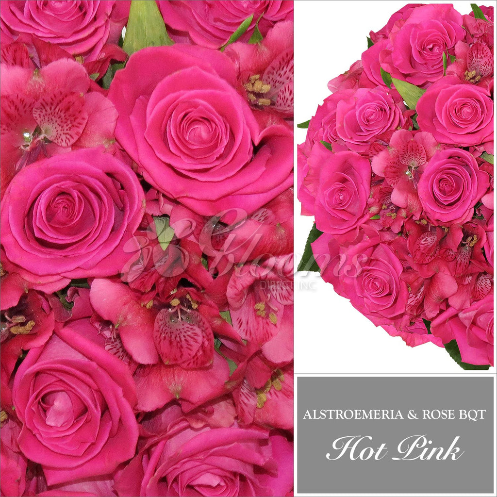 Hot Pink Rose & Alstroemeria Bouquet, Pack 8, 40 cm