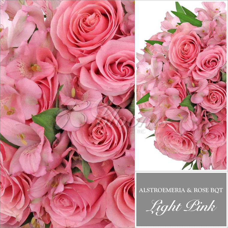 Roses & Alstroemeria Light Pink Monochromatic Pack 8 Bouquets - EbloomsDirect