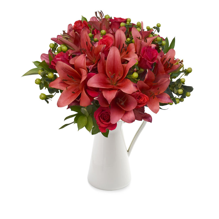 30 stems Mixed bouquet 50cm Graceful Elegance - Red Burgundy- Pack 5 - EbloomsDirect