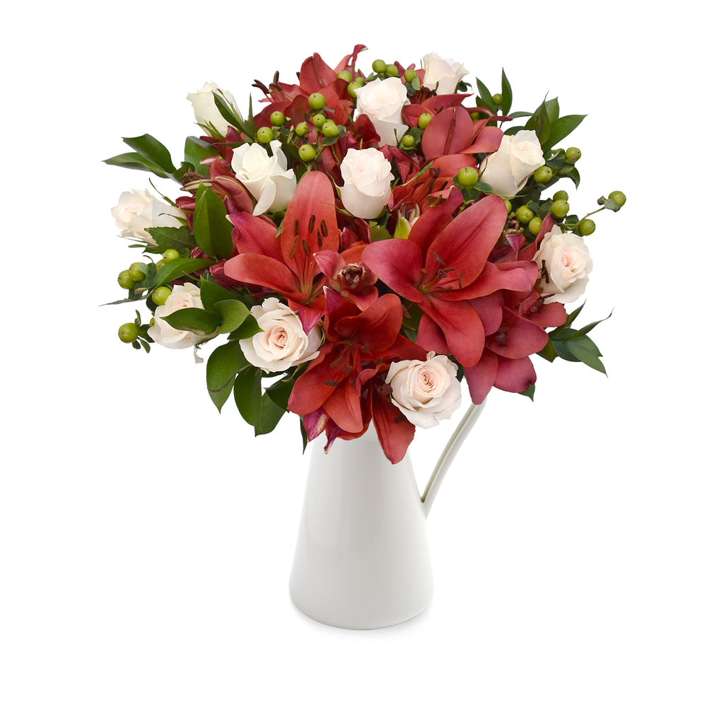 30 stems Mixed bouquet 50cm Graceful Elegance - White and Red - Pack 5 - EbloomsDirect