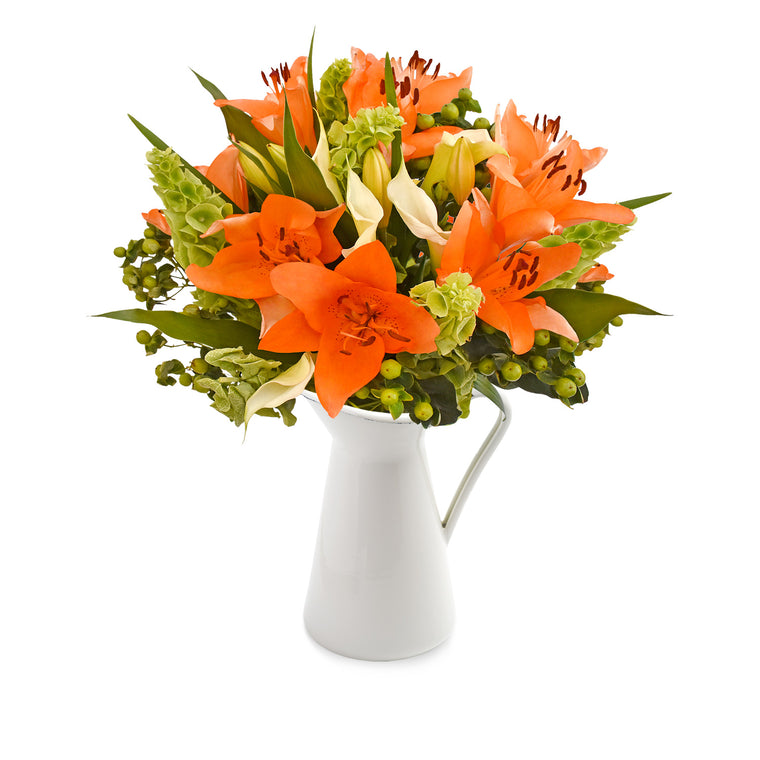 30 stems Mixed bouquet 50cm Sonoma Flair - Orange and Green - Pack 5 - EbloomsDirect