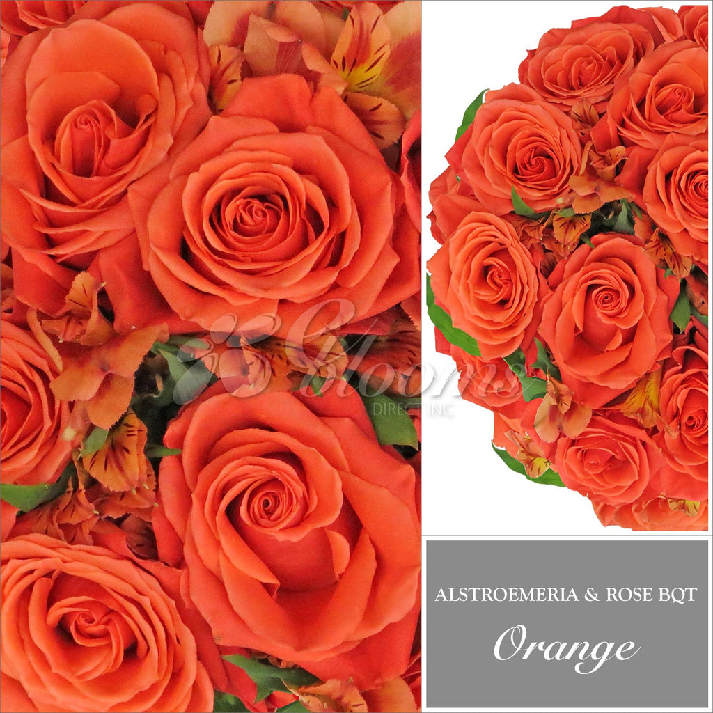 Orange Alstroemeria & Rose Bouquet, Pack 8, 40 cm