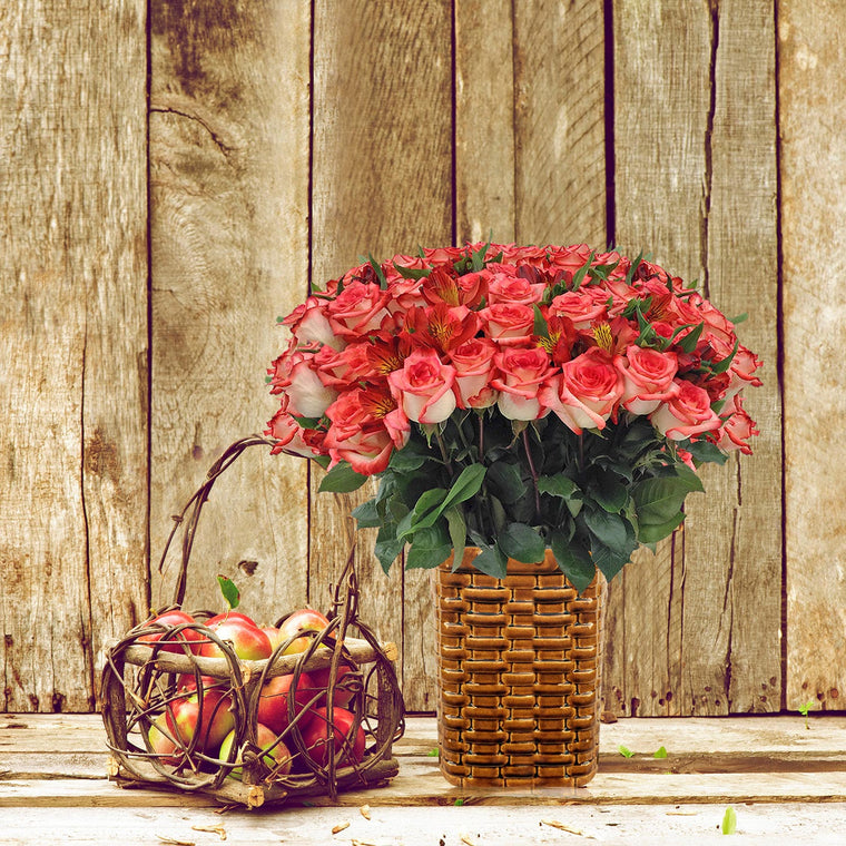 Autumn Jewels Bouquet Bicolor White & Red with Vase - EbloomsDirect