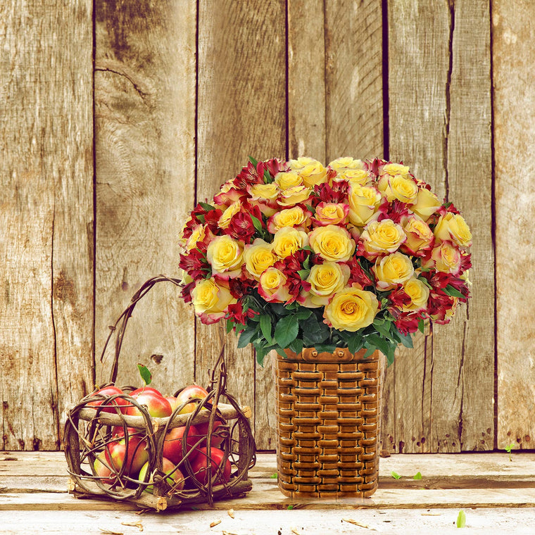 Autumn Jewels Bouquet Yellow - with Vase - EbloomsDirect
