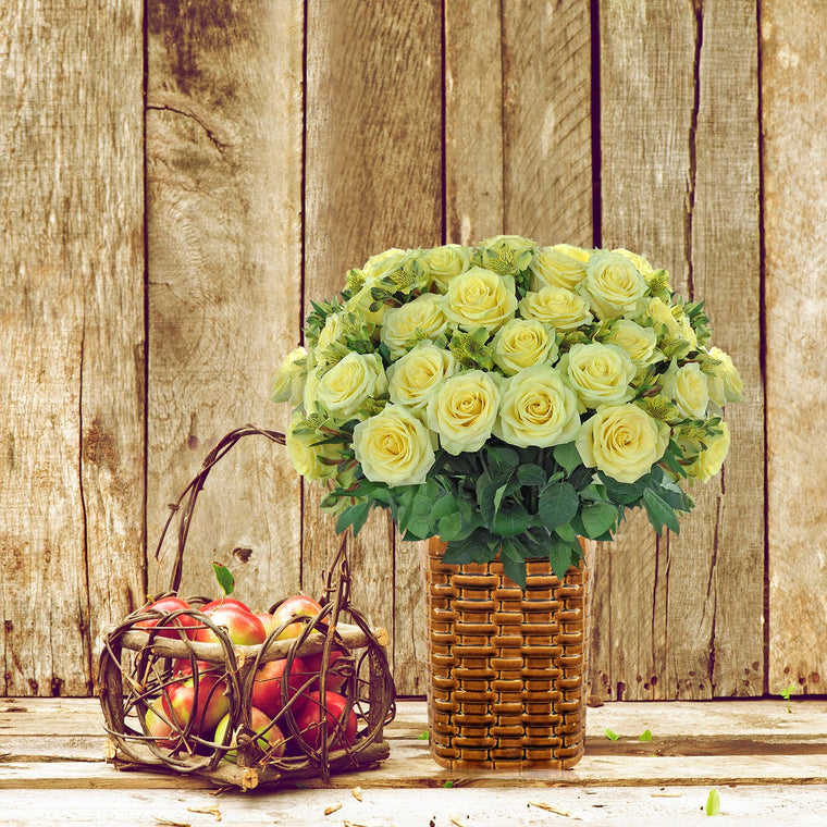 Autumn Jewels Bouquet Green with Vase- EbloomsDirect