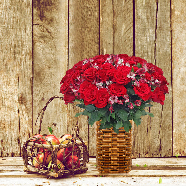 Autumn Jewels Bouquet Red with Vase - EbloomsDirect