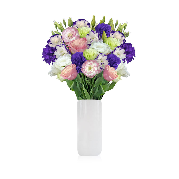 LOVELY LISIANTHUS Bouquet with Vase - EbloomsDirect
