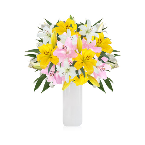 L.A. Hybrid Lilies Rainbow Pastel Bouquet - Pack 4 - EbloomsDirect