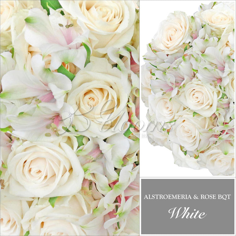 Rose and Alstroemeria White Monochromatic Pack 8 Bouquets - EbloomsDirect