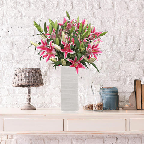 Oriental Lily Bouquet with Vase