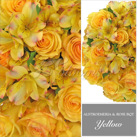 Yellow Alstroemeria & Rose Bouquet, Pack 8, 40 cm
