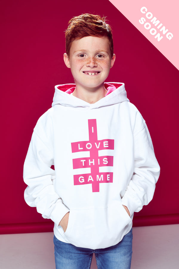 Kids Super Logo Hoodie - White & Hot Pink