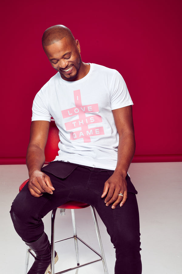Mens Super Logo Tee - White & Light Pink