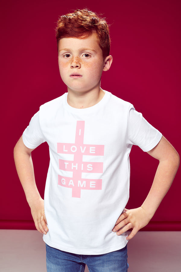 Boys Super Logo Tee - White & Light Pink