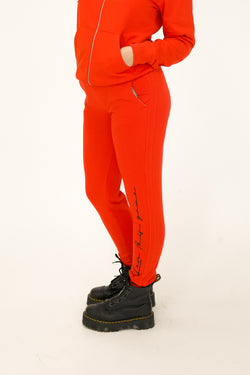 Unisex Script Text Joggers - Red