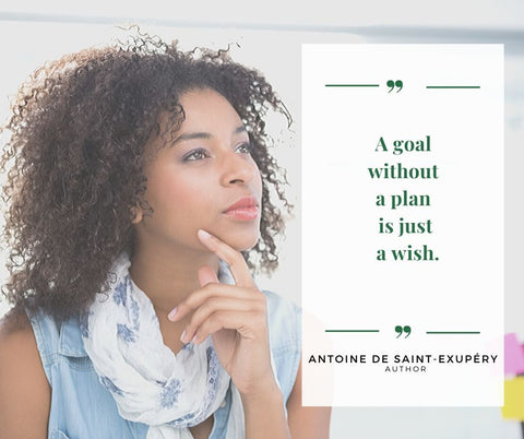 "DailyOne.co blog image quote, ""A goal without a plan is just a wish."" (by Author Antoine de Saint-Exupéry)"