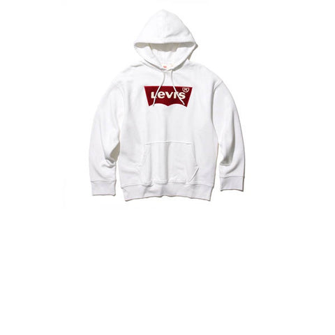 Levis Oversized Pull Hoodie Varsity Batwing White