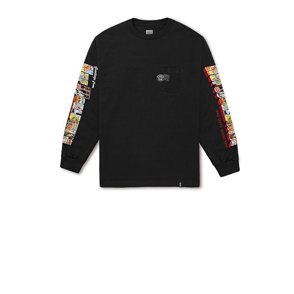 HUF Greetings L/S Pocket Tee Black
