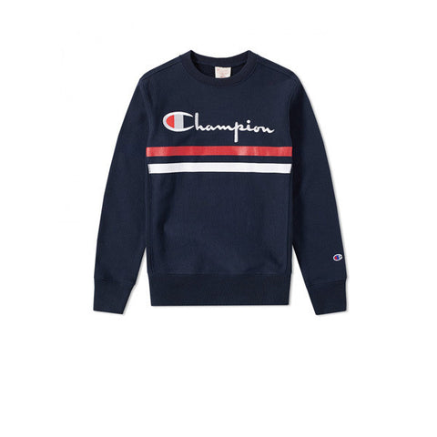 Champion Stripe Crewneck Sweatshirt Navy