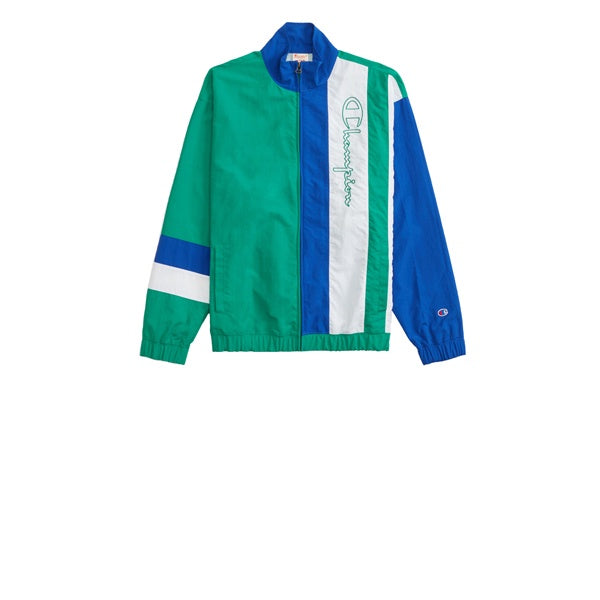 Champion Emb Script Full Zip Track Top Green Blue White