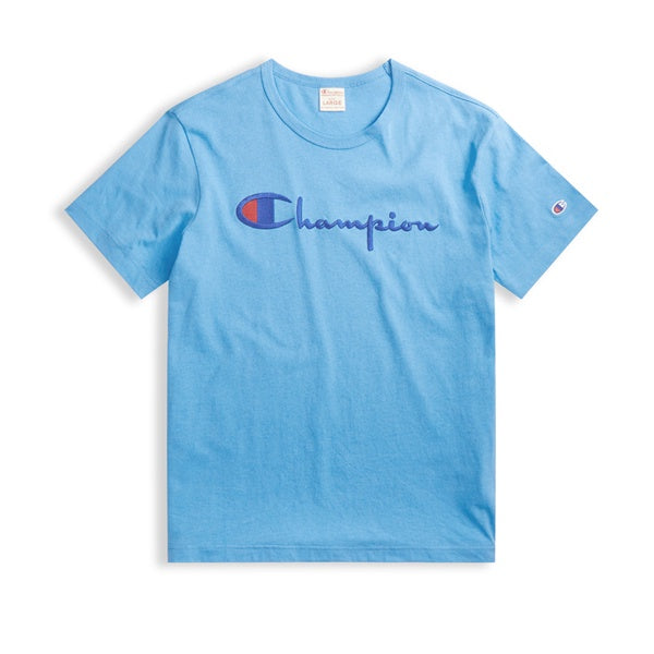 Champion Emb Script Logo Crew Neck T-Shirt Blue