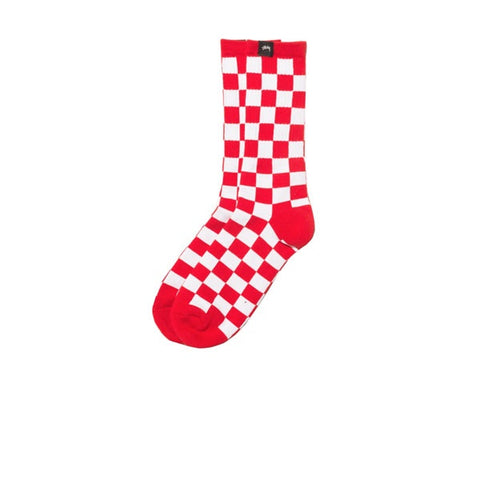 Stussy Checker Socks Red