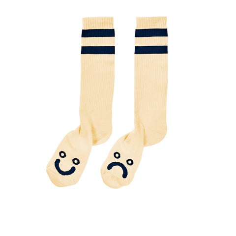 Polar Happy Sad Classic Sock Pastel Yellow Navy