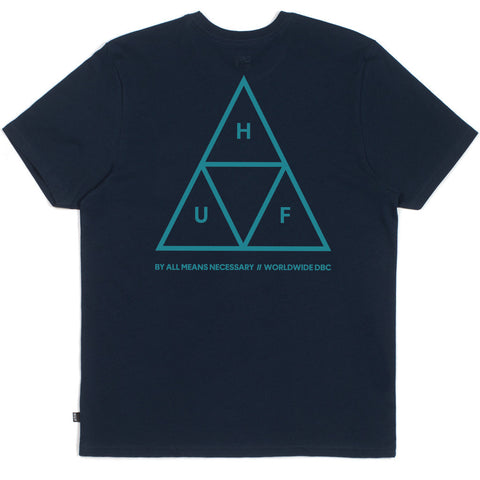 HUF Triple Triangle T Shirt Navy - Kong Online - 2