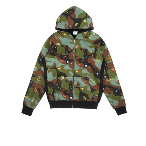 BBC All Over Space Camo Zip Through Hood Black