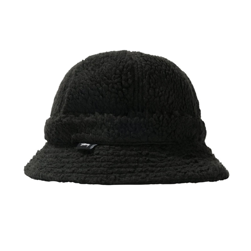 Stussy Sherpa Fleece Bell Bucket Hat Black