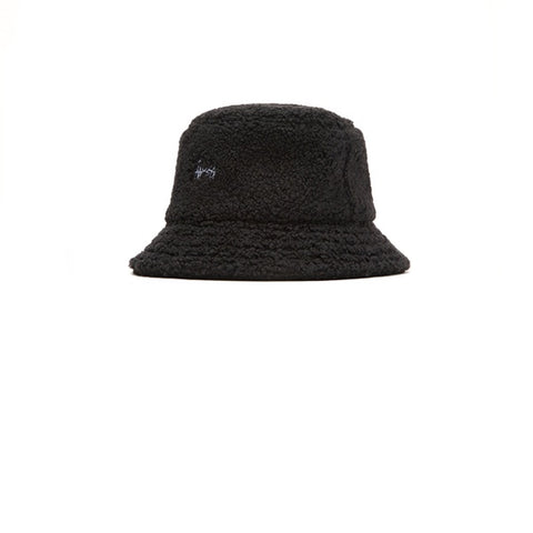 Stussy Sherpa Fleece Bucket Hat Black