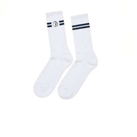 Polar Stroke Logo Socks White Navy