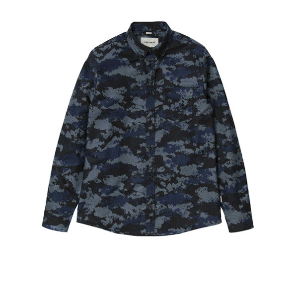 Carhartt L/S Camo Painted Shirt Blue Rinsed - Kong Online