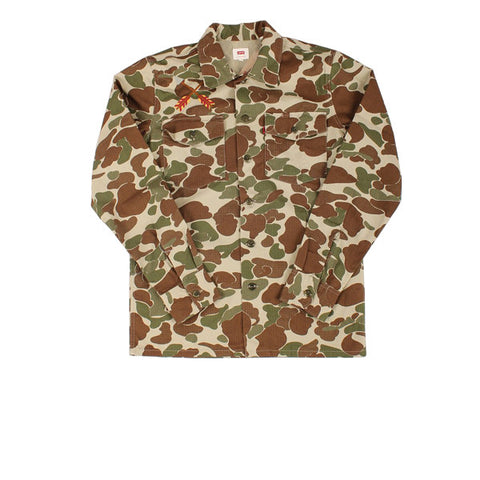 Levis Military Shacket Round Camo Duck Green