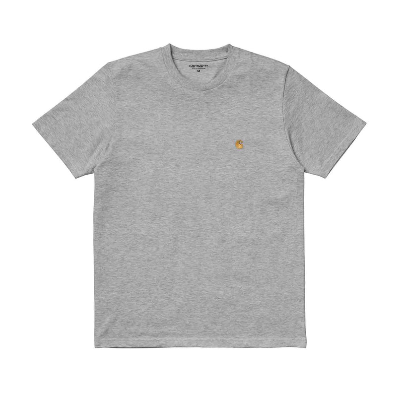 Carhartt WIP SS Chase T Shirt Grey Heather/Gold