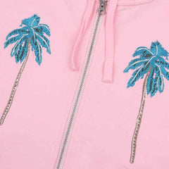Billionaire Boys Club Palm Tree Zip Through Hood Pink