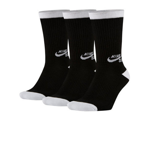 Nike SB 3Pack Crew Sock Black White