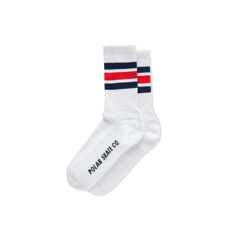 Polar Stripe Socks White/Navy/Red