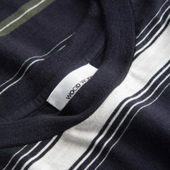 WOOD WOOD Perry T-Shirts Navy Stripe