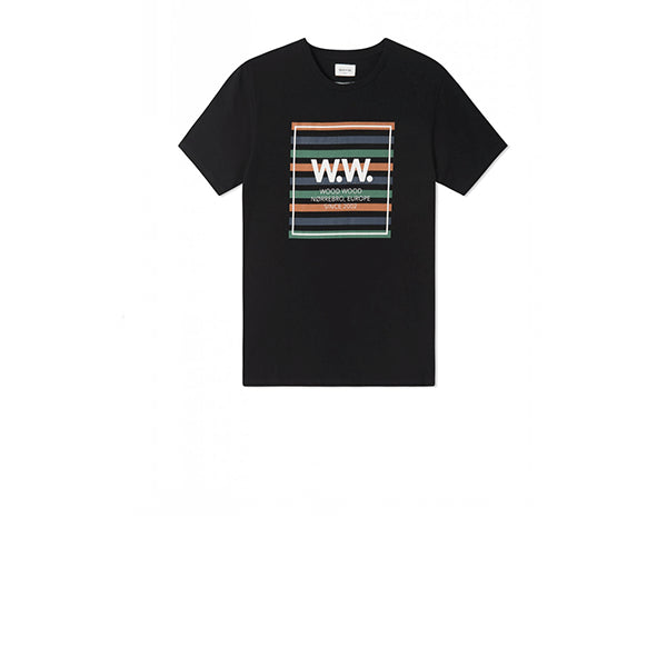 WOOD WOOD WW Stripes T-Shirt Black