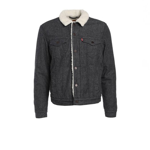 Levis The Sherpa Trucker Jacket Carbon Brushed Twill