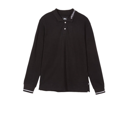 Stussy Heavy Pique L/S Polo Black