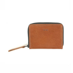 WOOD WOOD Card Zip Wallet Brown Leather - Kong Online - 1
