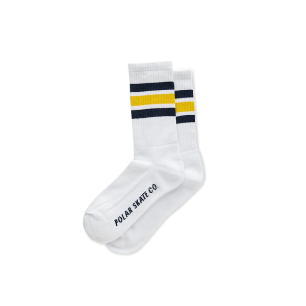 Polar Stripe Socks White/Navy/Yellow