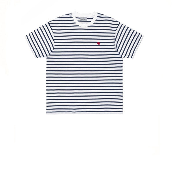 Carhartt S/S Champ T-Shirt Champ Stripe Blue White