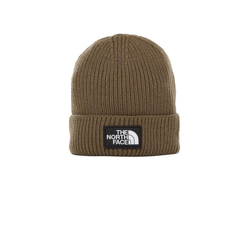 The North Face Logo Box Cuff Beanie New Taupe Green